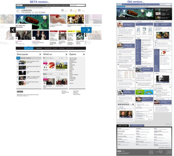 BBC website layout - new and old