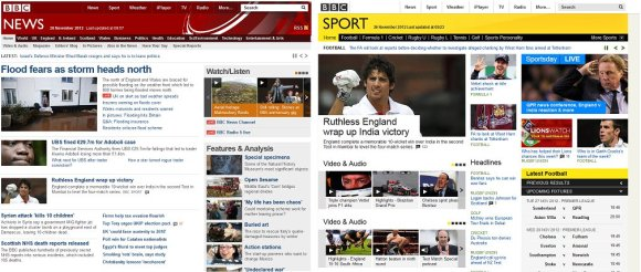 BBC news and sport layout November 2012