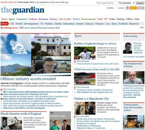 Guardian newspaper desktop layout