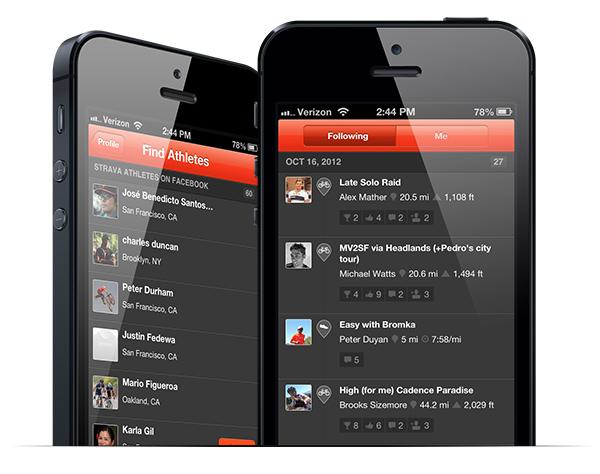 Strava's iphone app