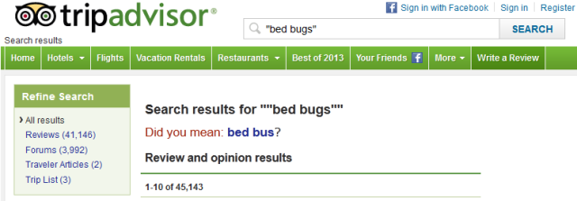 "A search result showing over 40,000 results for a search on the term ""bed bugs"""