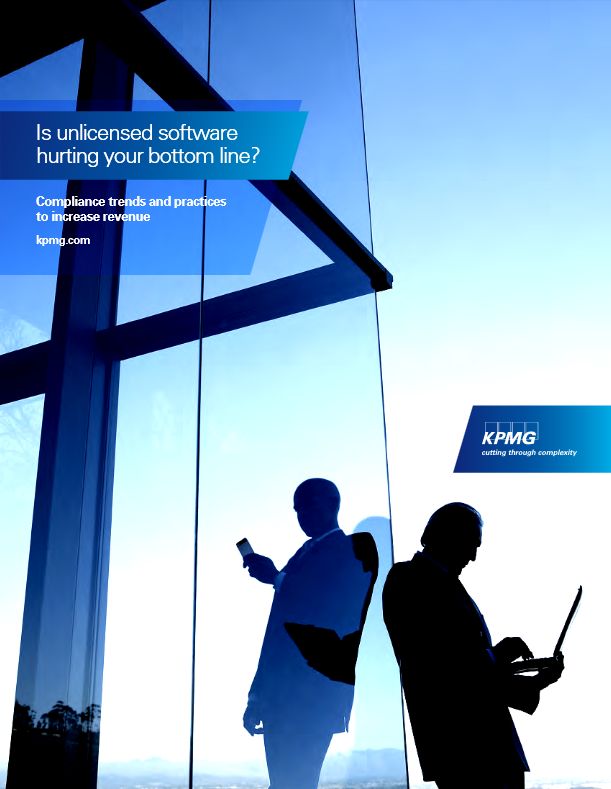 "KPMG survey front cover - ""Is unlicensed software hurting your bottom line"""